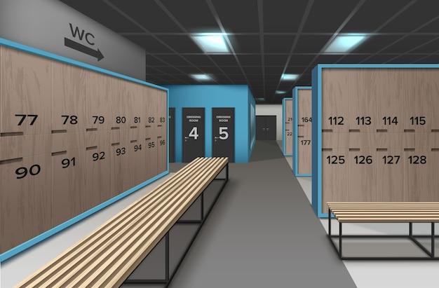Ilustração de vestiário vazio, moderno e limpo, com bancos de madeira e elementos