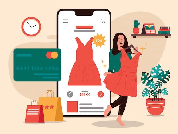 Ilustração de vestido de compras on-line de mulheres