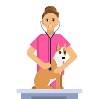 Ilustração de veterinário feminino fazendo um exame de cachorro fofo na mesa médica