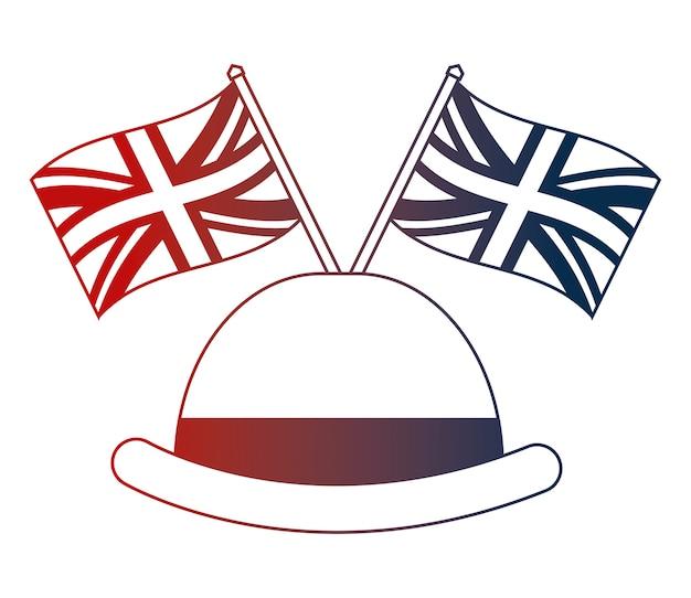 Ilustração de vetor de bandeiras inglesas de elegância de chapéu-coco