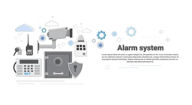 Ilustração de vetor de banner de seguro de proteção de segurança de ladrão de alarme