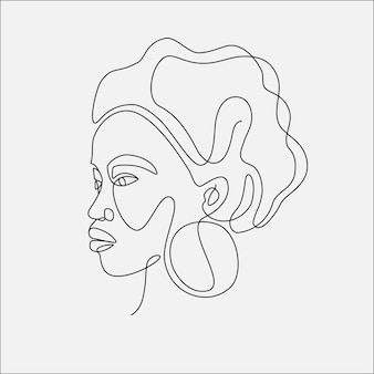 Ilustração de vetor de cabeça de mulher. desenho de uma linha.