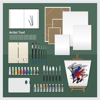 Ilustração de vetor de conjunto de ferramentas de artista