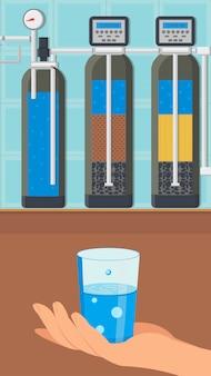 Ilustração de vetor de cor sistema de tratamento de água