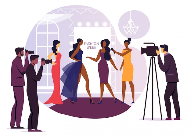 Ilustração de vetor de entrevista de designer de moda