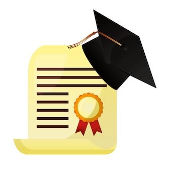 Ilustração de vetor de papel de escola de certificado de chapéu de formatura