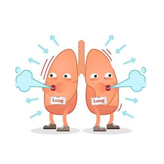 Ilustração de vetor de personagem de pulmões de respiração