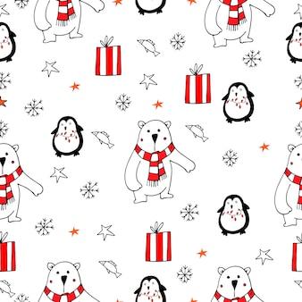 Ilustração de vetor de pinguins de ursos polares fofos de natal padrão sem emenda em um fundo branco
