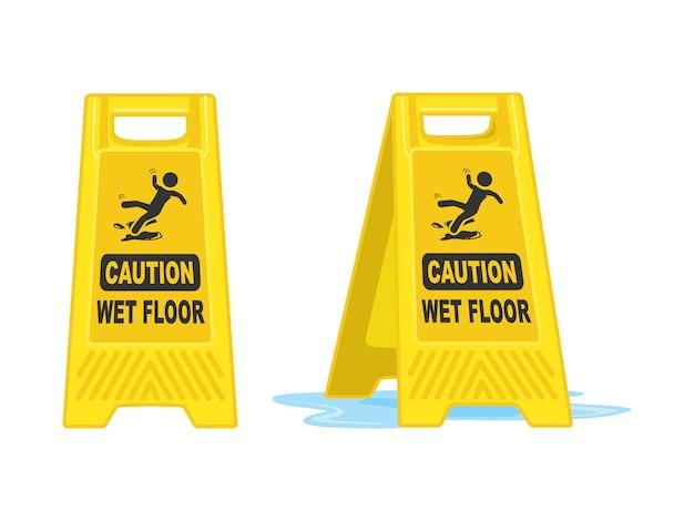 Ilustração de vetor de placa de sinal de piso molhado de precaução