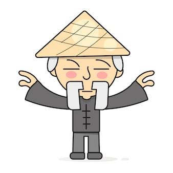 Ilustração de vetor de práticas de cura a corpo oriental de meditação qigong