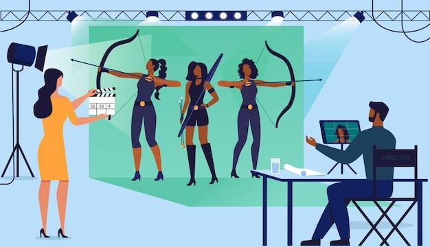 Ilustração de vetor plana de produção de filme de ação