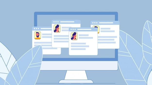 Ilustração de vetor plana de rede social perfis
