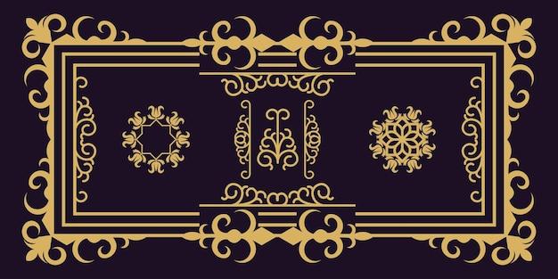 Ilustração de vetor premium com moldura de ornamento clássico