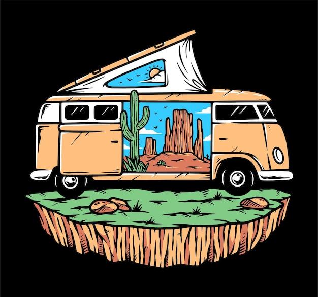 Ilustração de viagem ao deserto em uma van de camping