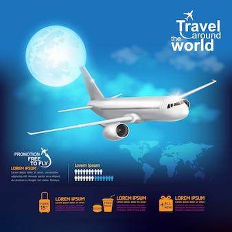 Ilustração de viagem ao redor do mundo