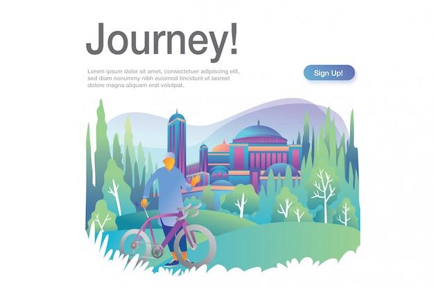 Ilustração de viagem com modelo de texto