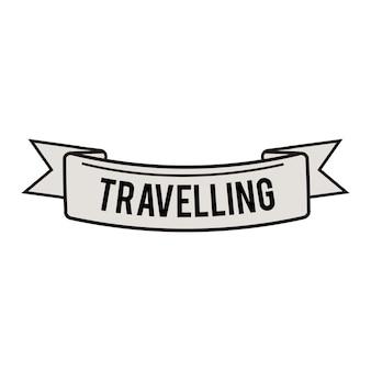 Ilustração, de, viagem, fita, bandeira, vetorial