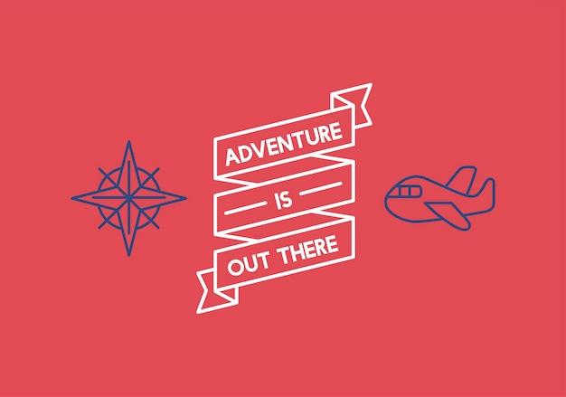 Ilustração, de, viagem, fita, bandeira