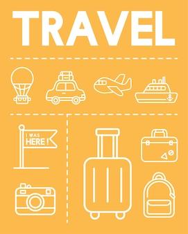 Ilustração, de, viagem, ícones, jogo