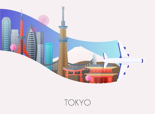 Ilustração de viagem para tóquio