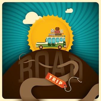 Ilustração de viagem rodoviária