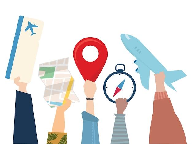 Ilustração, de, viagem, viagem, conceito