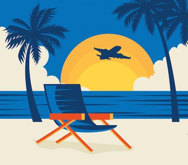 Ilustração de viagens com cadeira na praia