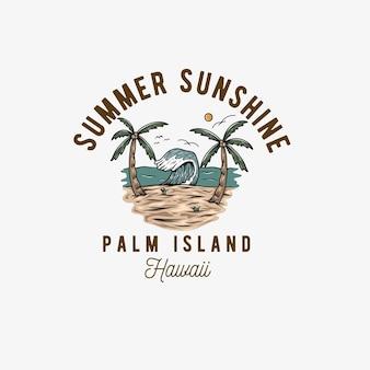 Ilustração de viagens de verão com logotipo de conceito de praia de ônibus vintage viagem de turismo de verão e su