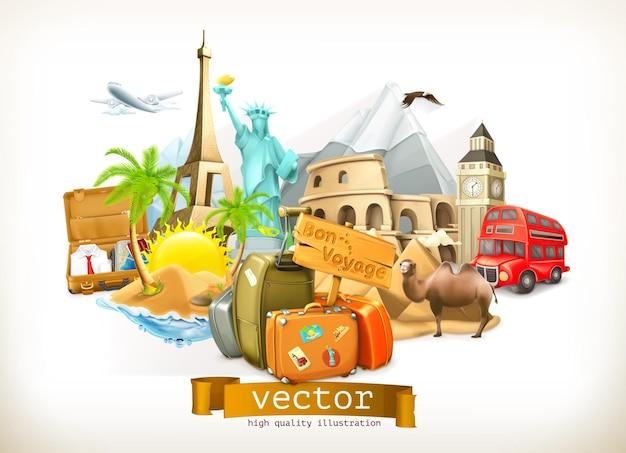 Ilustração de viagens em estilo 3d
