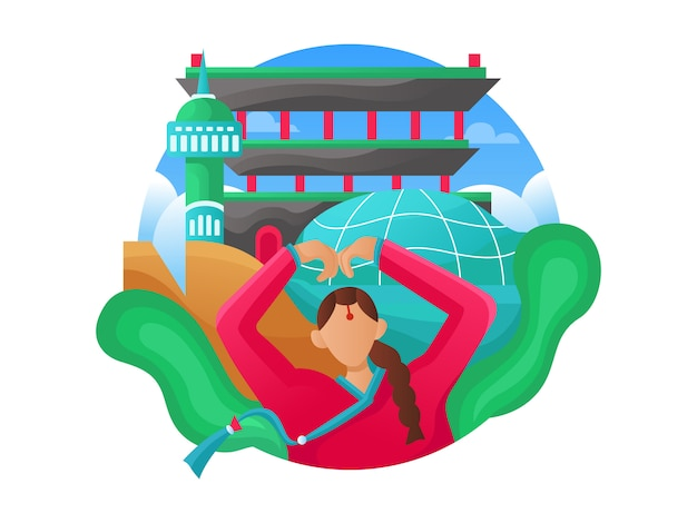 Ilustração de viagens na web