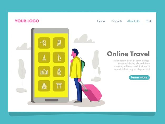 Ilustração de viagens on-line para a página de destino