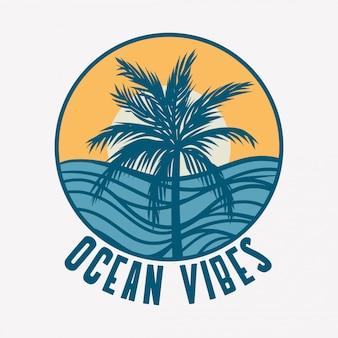 Ilustração de vibrações do oceano com palmeira