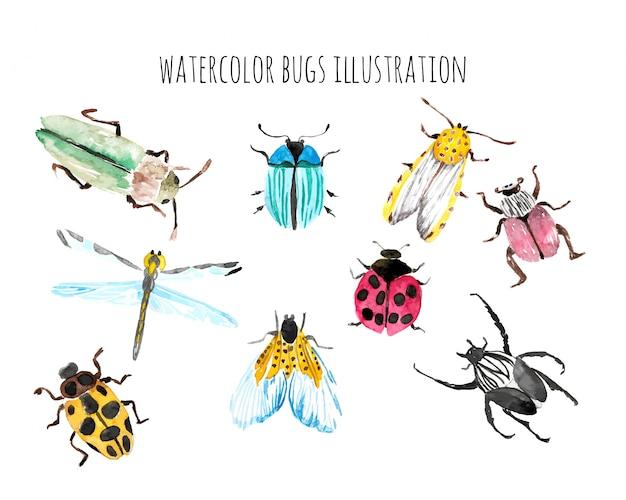 Ilustração de vida de insetos em aquarela