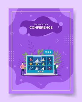 Ilustração de vídeo conferência móvel