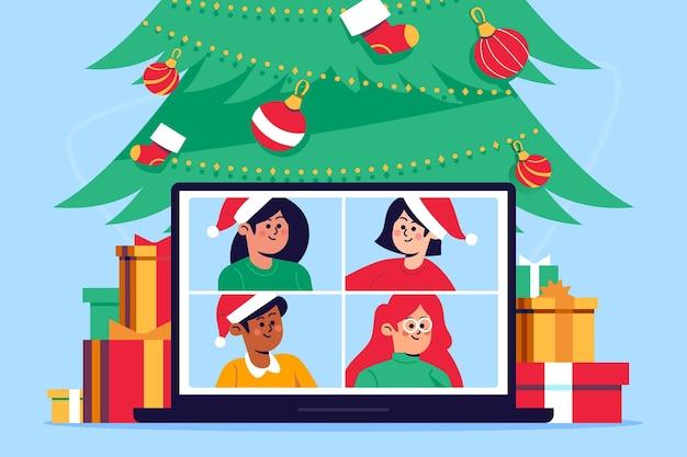 Ilustração de videochamada familiar de natal