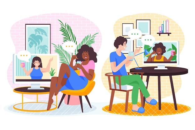 Ilustração de videoconferência de amigos desenhada à mão plana