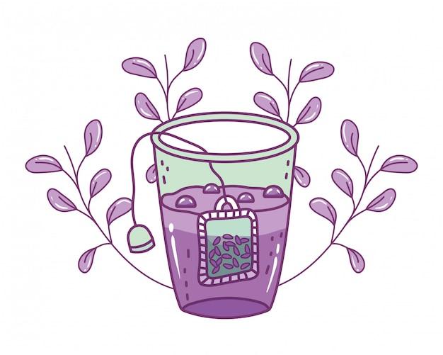 Ilustração de vidro de chá isolado