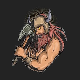 Ilustração de viking com machado