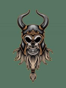 Ilustração de viking de caveira guerreira
