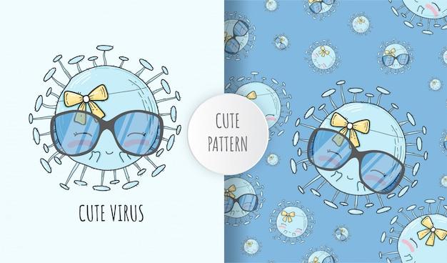 Ilustração de vírus bonito padrão sem costura plana