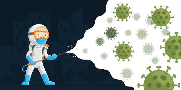 Ilustração de vírus de desinfecção