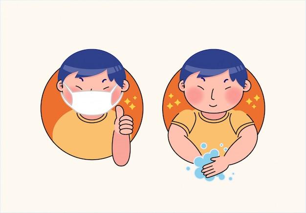 Ilustração de vírus de proteção de máscara