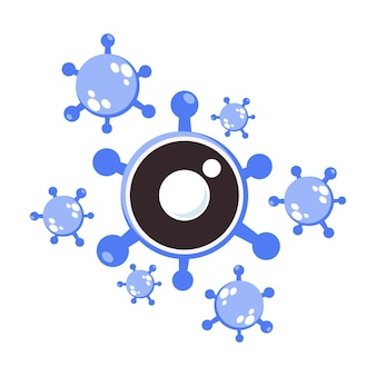 Ilustração de vírus em forma de olho como símbolo de doença ocular