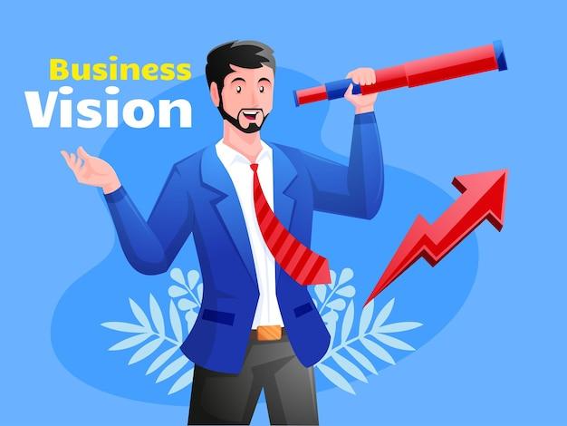 Ilustração de visão de negócios com telescópio