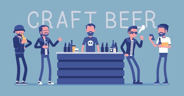 Ilustração de visitantes masculinos de bar de cervejaria artesanal