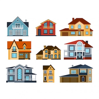 Ilustração de vista frontal de casas