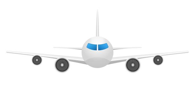 Ilustração de vista frontal do avião no fundo branco