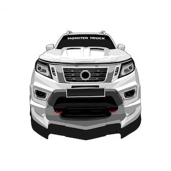 Ilustração de vista frontal do caminhão monstro