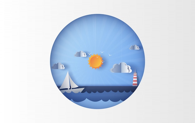 Ilustração de vista para o mar com um barco à vela flutuante no sol claro