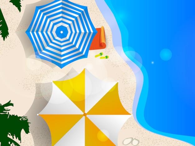 Ilustração de vista superior de praia verão